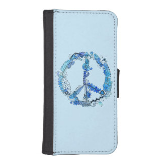 Illustrated Peace Sign Pen Art with Blue Phone Wallet
