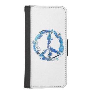 Illustrated Peace Sign Pen Art with Blue iPhone 5 Wallet Cases