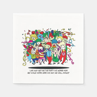 Illustrated People Dancing Paper Napkin