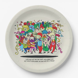 Illustrated People Dancing Paper Plate
