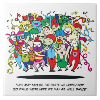 Illustrated People Dancing Tile