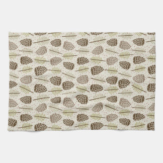 Illustrated Pine Cones Winter Pattern Kitchen Towel