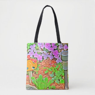 Illustrated plants  Floral Vibrant Nature Tote Bag