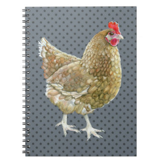 Illustrated Polka Dot Chicken Notebook