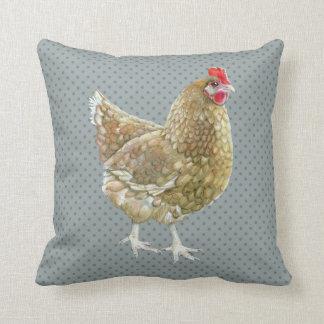 Illustrated Polka Dot Chicken Throw Cushion