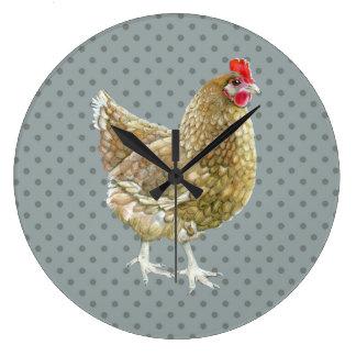 Illustrated Polka Dot Chicken Wall Clock