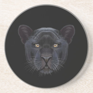 Illustrated portrait of Black Panther. Coaster