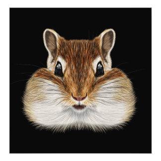 Illustrated portrait of Chipmunk. Photo Print