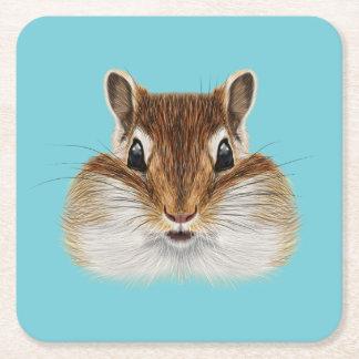 Illustrated portrait of Chipmunk. Square Paper Coaster