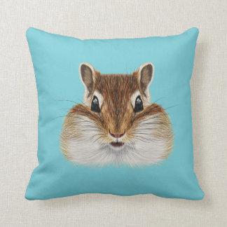 Illustrated portrait of Chipmunk. Throw Pillow