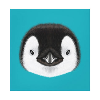 Illustrated portrait of Emperor penguin chick. Canvas Print