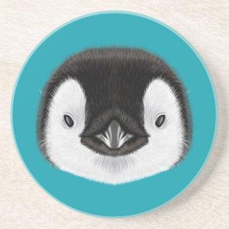 Illustrated portrait of Emperor penguin chick. Coaster