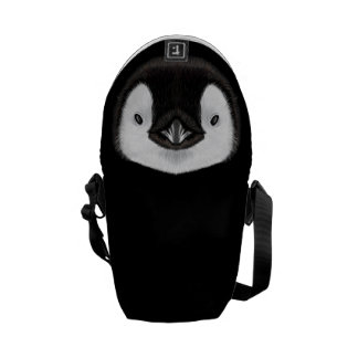 Illustrated portrait of Emperor penguin chick. Courier Bag