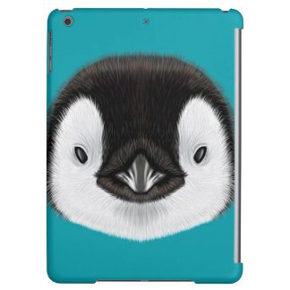 Illustrated portrait of Emperor penguin chick. iPad Air Cover