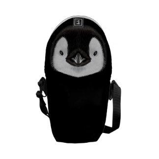 Illustrated portrait of Emperor penguin chick. Messenger Bag