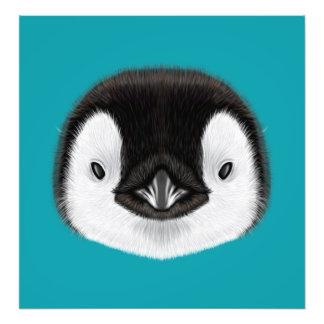 Illustrated portrait of Emperor penguin chick. Photo Art
