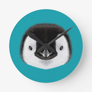Illustrated portrait of Emperor penguin chick. Round Clock
