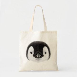 Illustrated portrait of Emperor penguin chick. Tote Bag