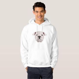 Illustrated portrait of English Bulldog puppy. Hoodie