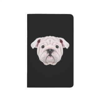 Illustrated portrait of English Bulldog puppy. Journals