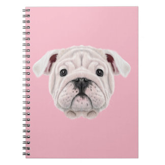 Illustrated portrait of English Bulldog puppy. Notebook