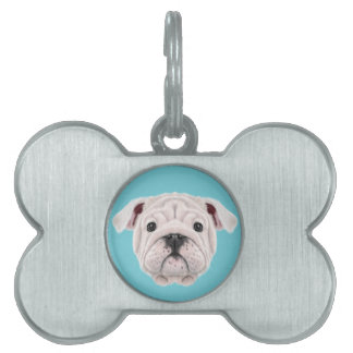 Illustrated portrait of English Bulldog puppy. Pet ID Tag