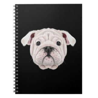Illustrated portrait of English Bulldog puppy. Spiral Notebook