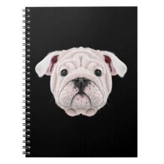 Illustrated portrait of English Bulldog puppy. Spiral Notebook