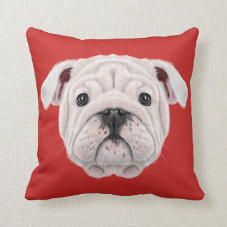 Illustrated portrait of English Bulldog puppy. Throw Pillow