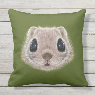 Illustrated portrait of Flying squirrel. Throw Pillow