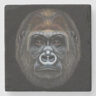 Illustrated portrait of Gorilla male. Stone Coaster