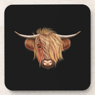 Illustrated portrait of Highland cattle. Coaster