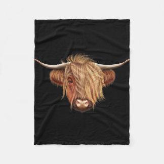 Illustrated portrait of Highland cattle. Fleece Blanket