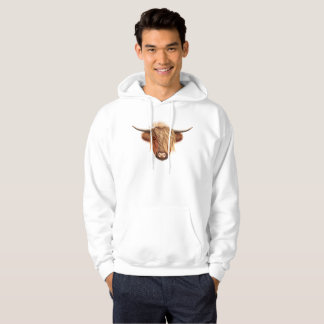 Illustrated portrait of Highland cattle. Hoodie