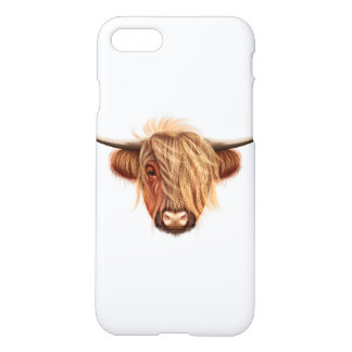 Illustrated portrait of Highland cattle. iPhone 8/7 Case
