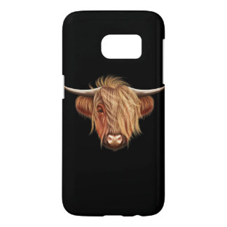 Illustrated portrait of Highland cattle. Samsung Galaxy S7 Case