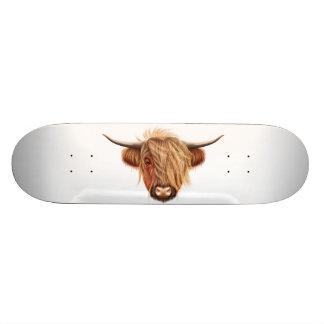 Illustrated portrait of Highland cattle. Skate Boards