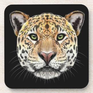 Illustrated portrait of Jaguar. Coaster