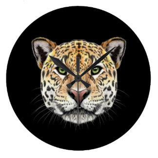 Illustrated portrait of Jaguar. Large Clock