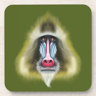 Illustrated portrait of Mandrill monkey. Coaster