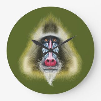 Illustrated portrait of Mandrill monkey. Large Clock