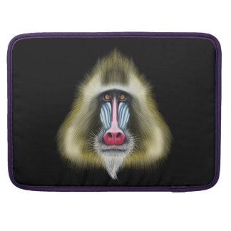 Illustrated portrait of Mandrill monkey. Sleeve For MacBook Pro