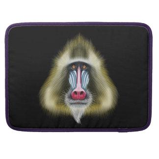 Illustrated portrait of Mandrill monkey. Sleeve For MacBooks