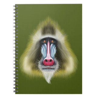 Illustrated portrait of Mandrill monkey. Spiral Notebook