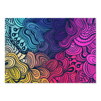 Illustrated Psychedelic Floral Pattern Card