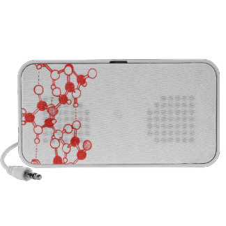Illustrated Red Molecules Structure Travel Speaker