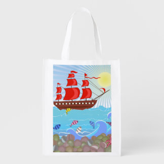 Illustrated Red Pirate Ship Reusable Grocery Bag