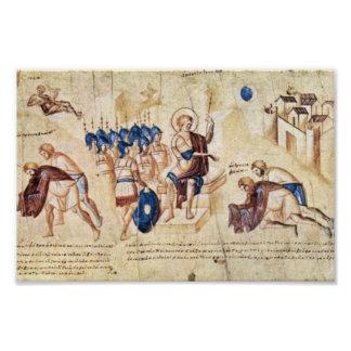 Illustrated Scroll Of The Scene Of Joshua: Joshua Poster