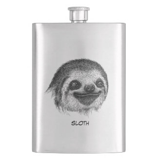 Illustrated Sloth Face Hip Flask
