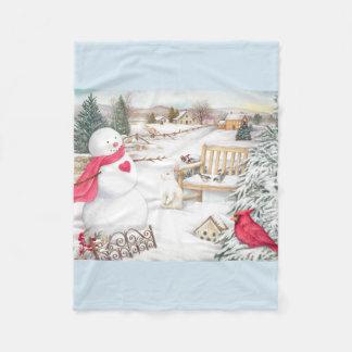 Illustrated Snowmen Winter Wonderland Fleece Blanket